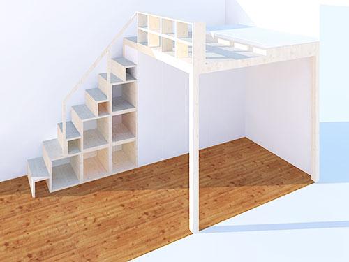 Hochbett Regal regal und treppe für hochebene und hochbett neubauen design