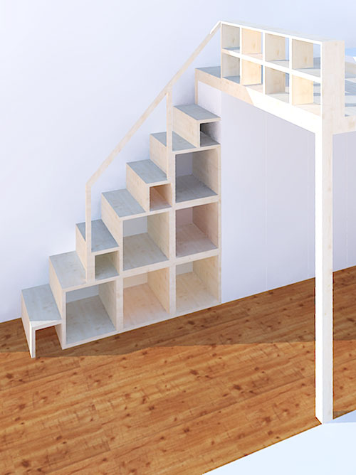Treppenregal für Hochbett