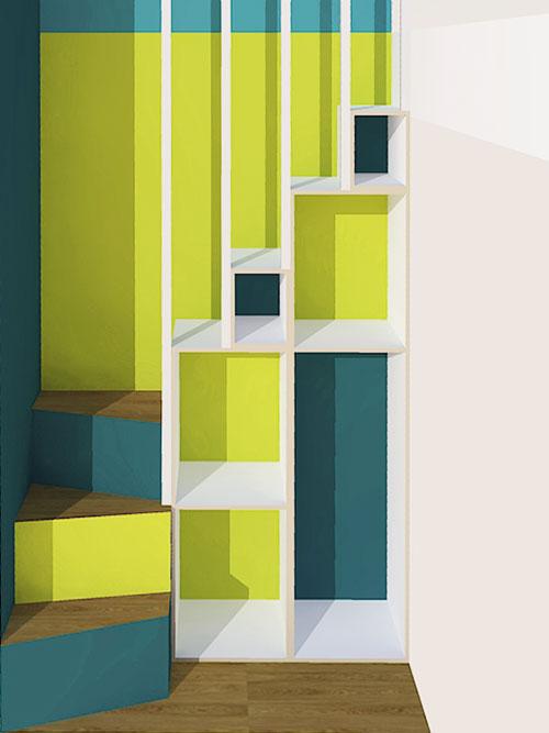 3d-Visualisierung Hochbett Treppe Regal