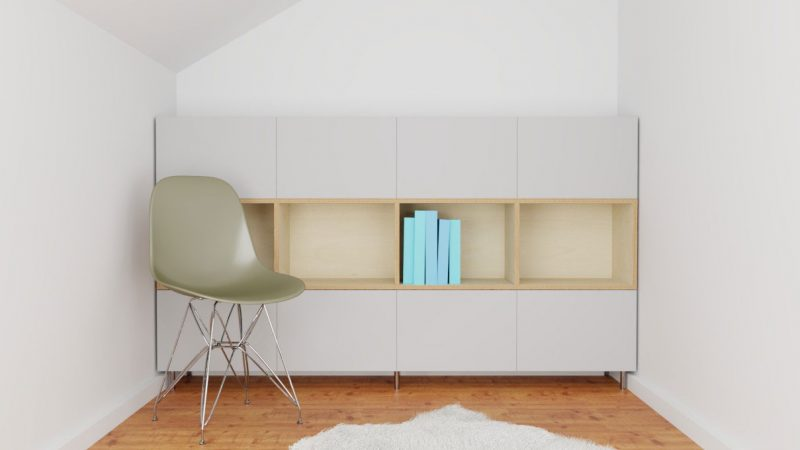 Bücherregal mit Stuhl