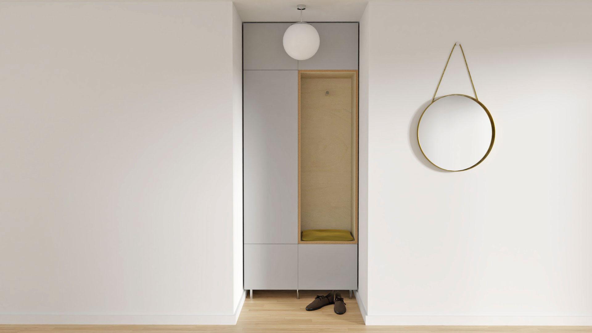 Garderobe mit Metall-Spiegel rund
