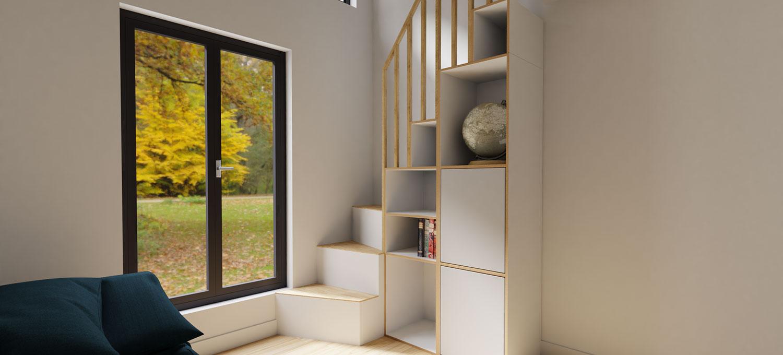 Wohnraum mit Treppenregal