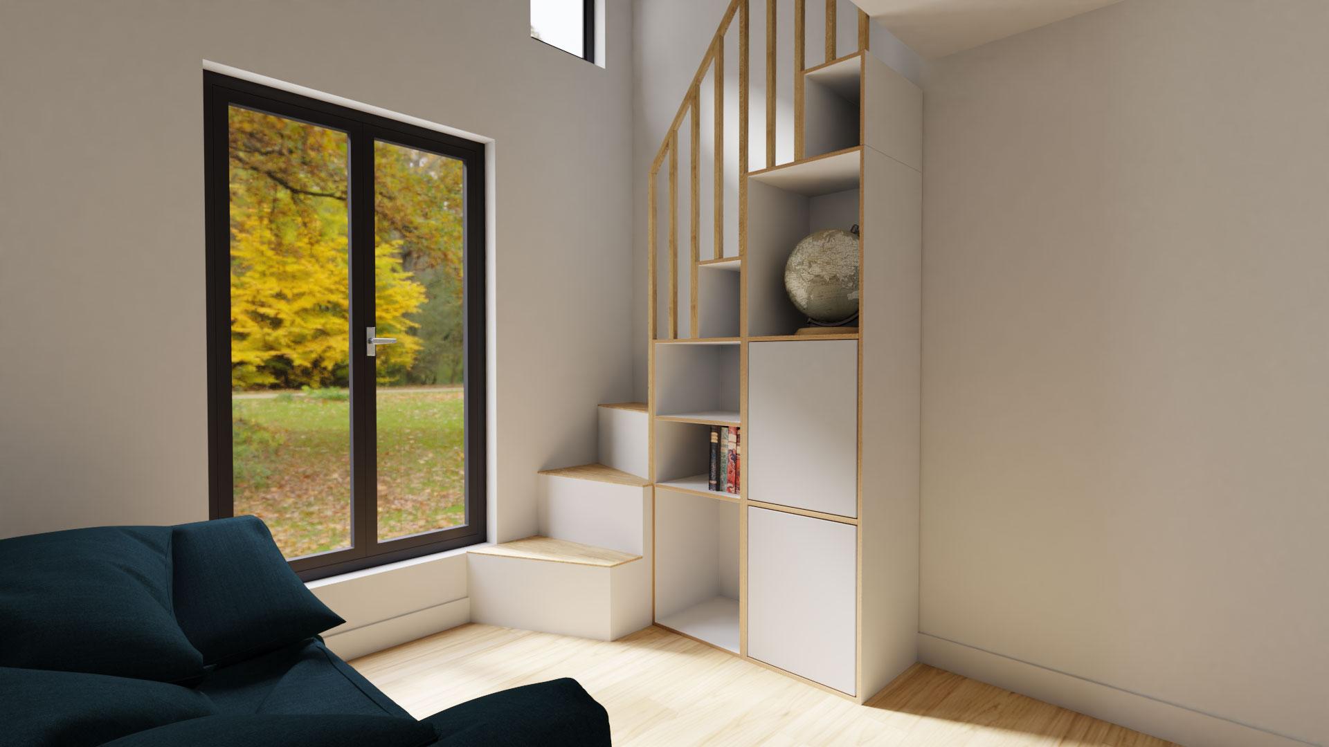 Zimmer mit Treppenregal